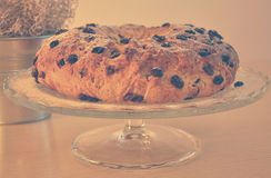 Cake. Raisin cake on a cakestand Royalty Free Stock Images