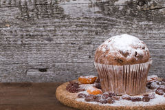 Cake with raisin, dry apricot and sugar powder on the wooden table Stock Image