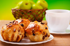 Cake with raisins, cup of coffee, Royalty Free Stock Photo