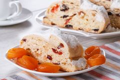 Cake with raisins, dried apricots and candied slices closeup Royalty Free Stock Photo