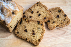 Sliced cake with raisins Royalty Free Stock Image
