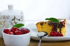 Cake with raspberries Stock Images
