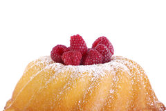 Cake with raspberries. In front of a white background Royalty Free Stock Image