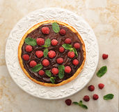 Cake with raspberries and chocolate Royalty Free Stock Image