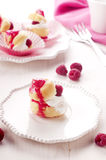 Cake with raspberry. Homemade cake with raspberry and cream Stock Images