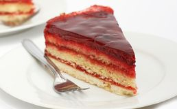 Cake with raspberry jam and jelly Stock Photo