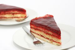 Cake with raspberry jam and jelly Stock Photography