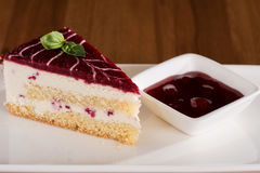 Cake of the Raspberry with raspberry souce. Delicous stock images