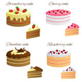 Cake raspberry strawberry chocolate cherry sweet food set illustration Stock Images