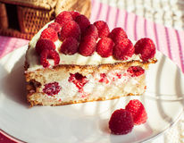 Cake of raspberry Stock Photography