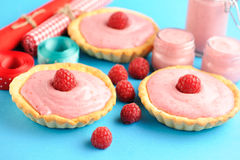 Cake with raspberry yogurt dessert. Cakes with raspberry yogurt dessert Stock Image