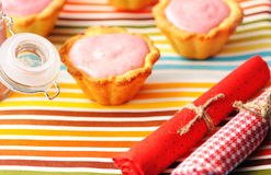 Cake with raspberry yogurt dessert. Cakes with raspberry yogurt dessert Stock Photography