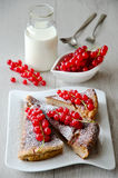Cake with red currant. Dessert with red currant and a bottle of milk Stock Photography
