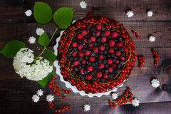 Cake with red currants, raspberries and blackberries. On a wooden background Stock Photography