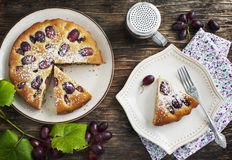 Cake with red grapes Royalty Free Stock Photography