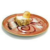 Cake on red plate. Stock Photography
