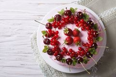 Cake with red ripe berries horizontal top view close-up stock photos