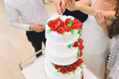 Cake with Red Roses Stock Image