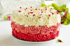 Cake Red Velvet. Homemade cake Red Velvet decorated with cream Stock Photography
