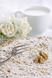 Cake with Ricotta Chocolate and Walnuts royalty free stock photos