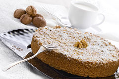 Cake with Ricotta Chocolate and Walnuts Stock Photography