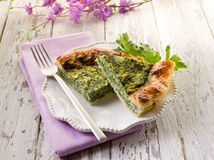 Cake with ricotta and spinach Stock Photos
