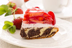 Cake with Ricotta and Strawberries Royalty Free Stock Image