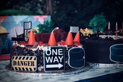 Cake With Road Signs Stock Photography