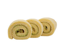 Cake role. Yam roll on white background Stock Images