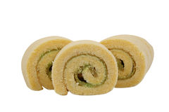 Cake role. Yam roll on white background Royalty Free Stock Images
