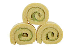Cake role. Yam roll on white background Royalty Free Stock Photo