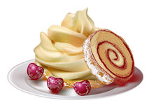 Cake roll with barry on plate Stock Photography
