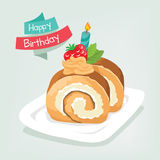 Cake roll with candle in happy birthday Royalty Free Stock Photos