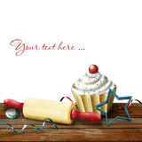 Cake, rolling pin,  molds for baking , candy and s. Cake, rolling pin, molds for baking , candy and serpentine on the background bokeh, digital  illustration Stock Photo