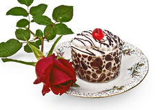 Cake with a rose Stock Images