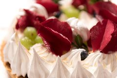 Cake with rose petals stock images