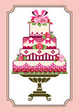 Cake with roses. Sweet pink cake with roses, template to birthday or wedding Royalty Free Stock Photo