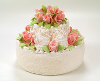 A cake with  roses. Royalty Free Stock Photos