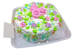 Cake with roses of cream Stock Photography