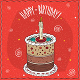 Cake round shape with a burning candle Royalty Free Stock Photo