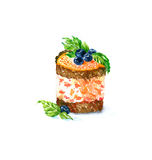 The cake round shape dessert  cake watercolor Royalty Free Stock Photography