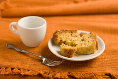 Cake on a saucer and a cup of coffee. Stock Photos