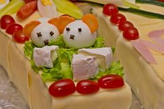 Cake of sausages and cheese. In the shape of a horseshoe stock photos