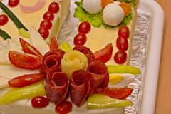 Cake of sausages and cheese. In the shape of a horseshoe stock photo