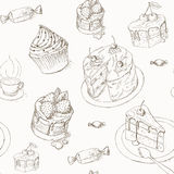 Cake seamless pattern Stock Photo