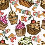 Cake seamless pattern Stock Photo
