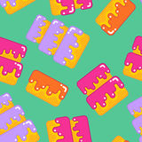 Cake seamless pattern. Dessert for birthday and holiday backgrou Royalty Free Stock Images