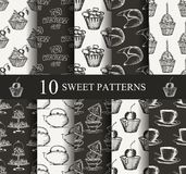 Cake seamless patterns set Royalty Free Stock Photo