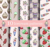 Cake seamless patterns set Stock Image