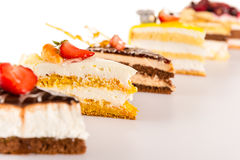 Cake selection close-up of tart slice dessert Royalty Free Stock Photo